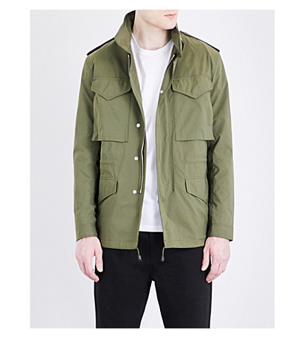 SANDRO Stand collar shell field jacket (Olive+green