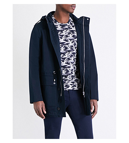 SANDRO Flap-pocket cotton-blend jacket (Navy+blue
