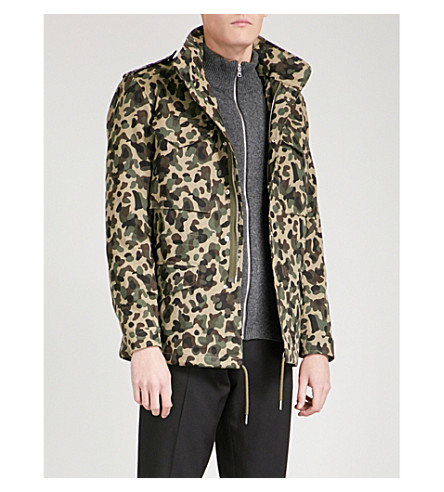 SANDRO Camouflage-print cotton jacket (Olive+green