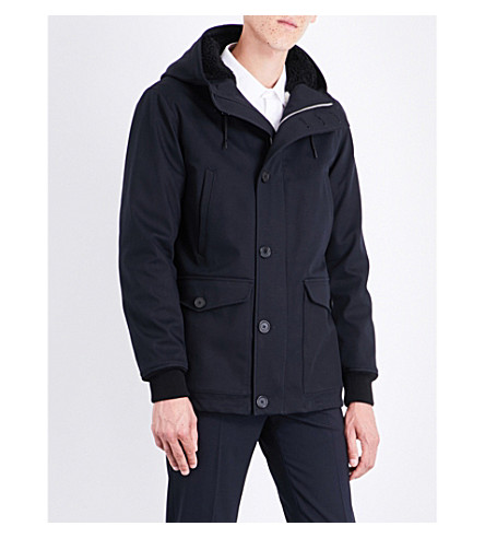 SANDRO Faux-fur lined hooded cotton-blend coat (Navy+blue