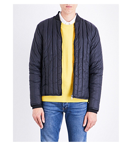 SANDRO Stand-collar quilted shell jacket (Navy+blue