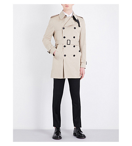 SANDRO Double-breasted cotton trench coat (Beige