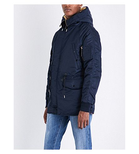 SANDRO Hooded quilted coat (Navy+blue