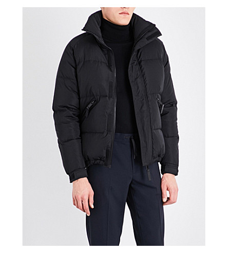 SANDRO Funnel-neck shell-down jacket (Black