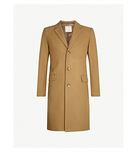 SANDRO Single-breasted wool-blend coat (Beige