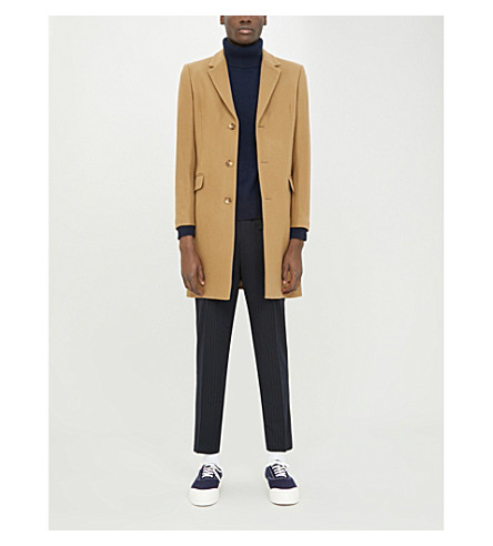 SANDRO Single-breasted wool-blend coat (Beige