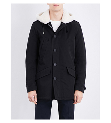 SANDRO Faux-shearling lining cotton-twill coat (Black