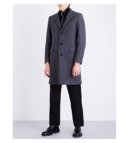 SANDRO Single-breasted wool-blend coat (Mocked+grey