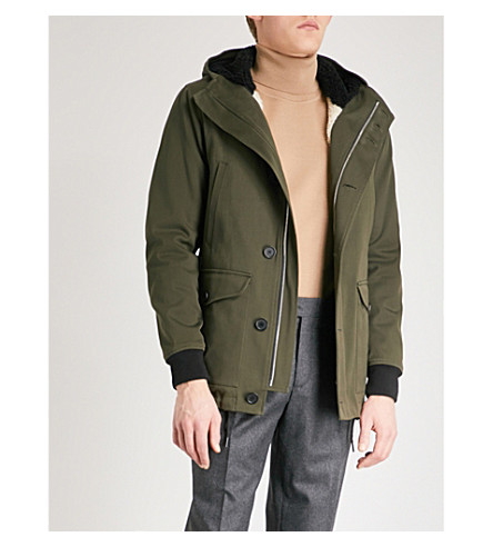 SANDRO Hooded cotton-drill coat (Olive+green
