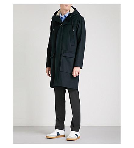 SANDRO Hooded wool-blend parka coat (Navy+blue