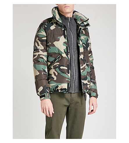 SANDRO Camouflage-print shell puffer jacket (Olive+green