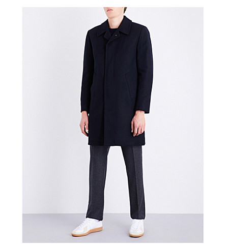 SANDRO Single-breasted wool-blend coat (Navy+blue