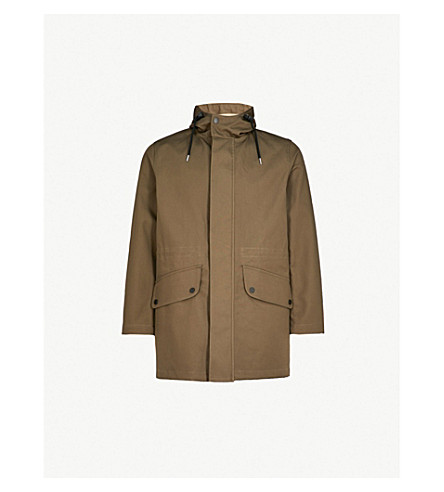 SANDRO Hooded cotton parka coat (Khaki
