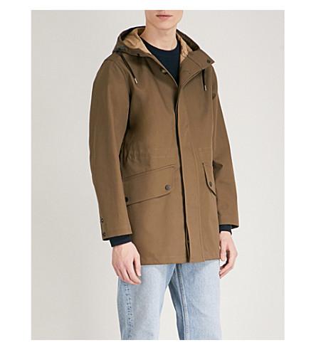 SANDRO Hooded cotton parka coat (Khaki