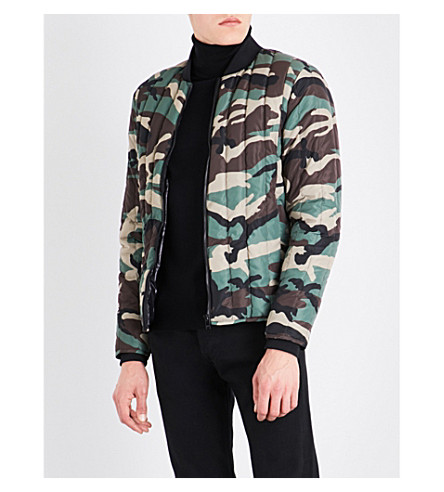 SANDRO Camouflage-patterned shell-down bomber jacket (Olive+green