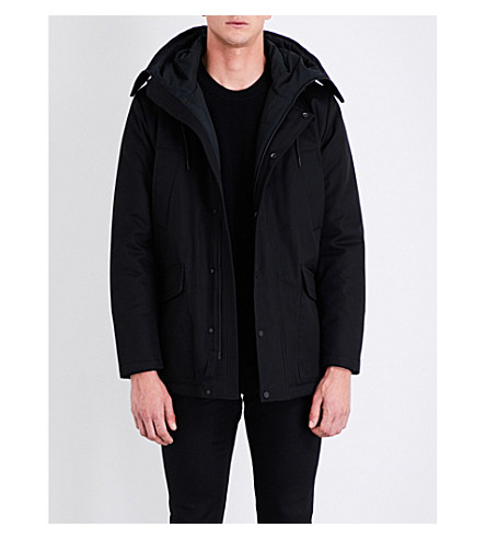 SANDRO Hooded cotton-drill coat (Black