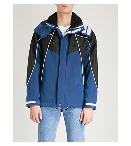 SANDRO Contrast-panel hooded shell coat (Blue