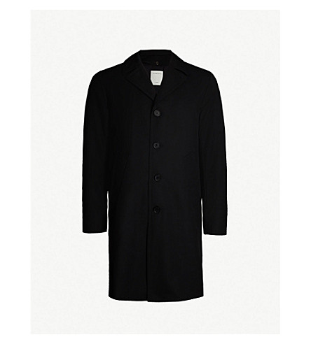 SANDRO 单排扣羊毛混纺大衣 (黑色