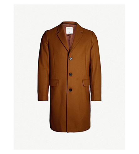 SANDRO Tailored wool-blend coat (Cognac