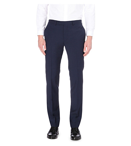 SANDRO Wool and mohair-blend slim-fit pants (Blue