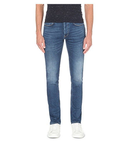 SANDRO Slim-fit tapered stretch-denim jeans (Blue+vintage+-+denim