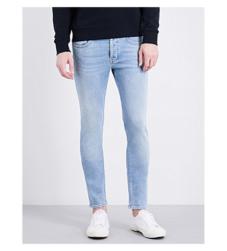 SANDRO Slim-fit mid-rise tapered jeans (Light+blue
