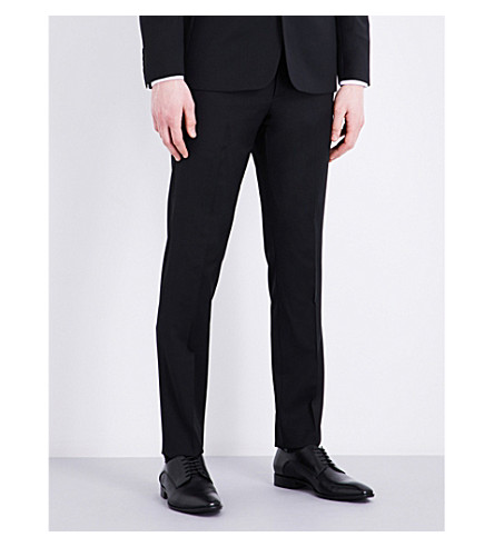 SANDRO Slim-fit tapered wool-blend trousers (Black