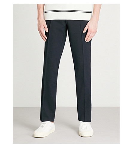 SANDRO Slim-fit tapered stretch-wool trousers (Navy+blue