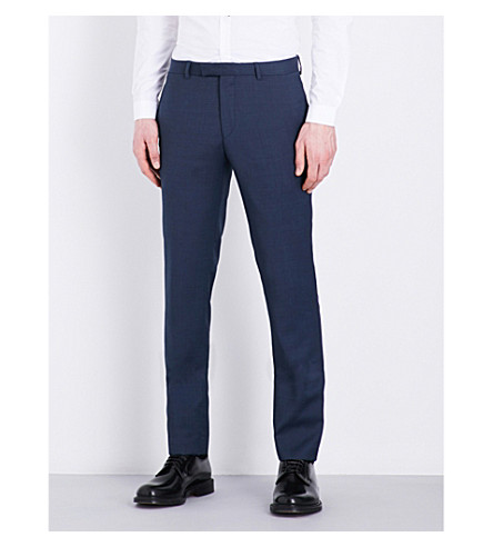 SANDRO Birdseye pattern slim-fit wool pants (Blue