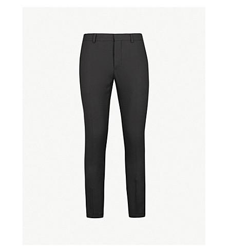 SANDRO Slim-fit tapered wool-piqué trousers (Noir