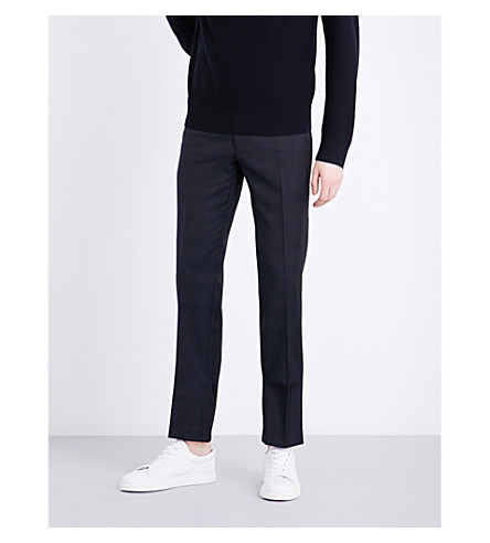 SANDRO Checked tailored-fit wool trousers (Navy+blue
