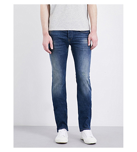SANDRO Distressed slim-fit skinny jeans (Blue+vintage