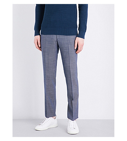 SANDRO Slim-fit mid-rise wool trousers (Blue