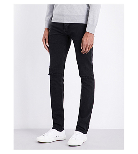 SANDRO Distressed mid-rise slim-fit jeans (Black