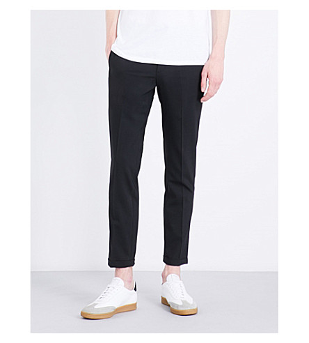 SANDRO Smart tapered wool-blend trousers (Black