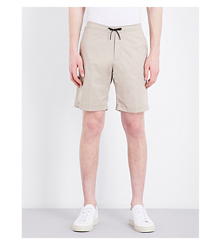 SANDRO Relaxed-fit mid-rise stretch-cotton shorts (Beige