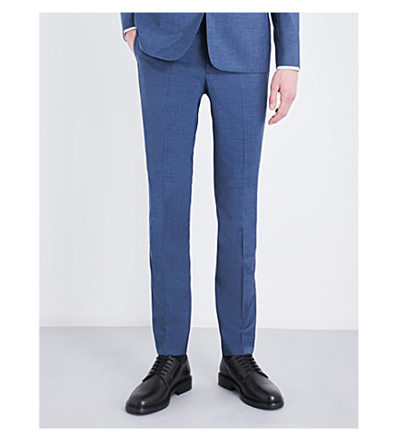 SANDRO Tapered tailored-fit wool, mohair and silk-blend pants (Light+blue