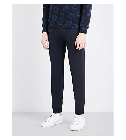 SANDRO Elasticated-cuff relaxed-fit tapered wool-blend pants (Navy+blue