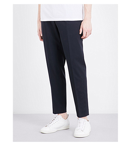 SANDRO Tailored-fit tapered mid-rise wool-blend trousers (Navy+blue