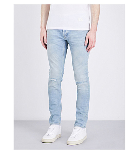 SANDRO E17 distressed slim-fit mid-rise jeans (Blue+vintage