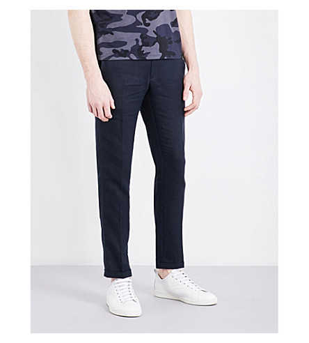 SANDRO Slim-fit tapered linen trousers (Navy+blue