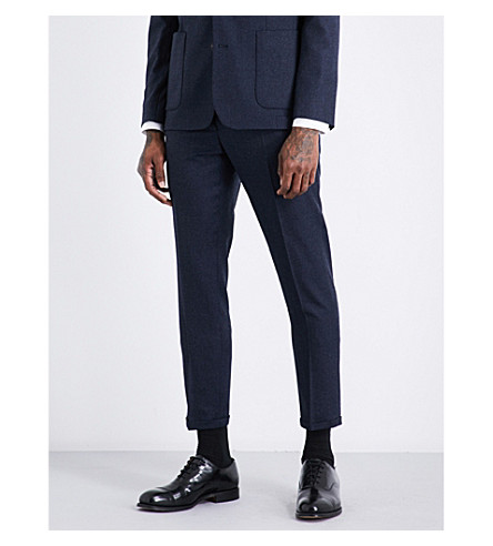 SANDRO Slim-fit brushed-wool trousers (Bluish+grey