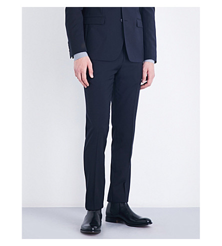 SANDRO Tapered slim-fit wool trousers (Navy+blue
