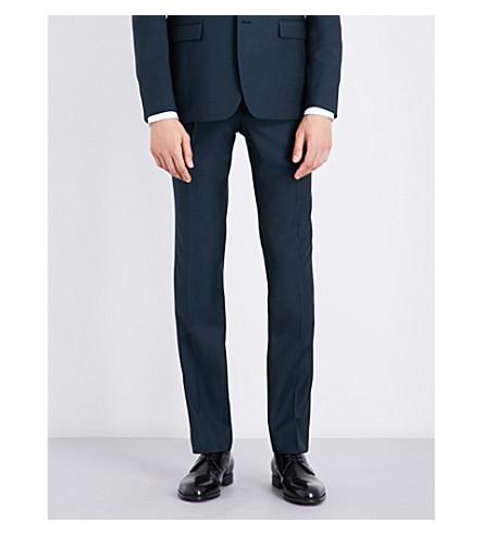 SANDRO Slim-fit tapered wool and mohair-blend trousers (Peacock+blue