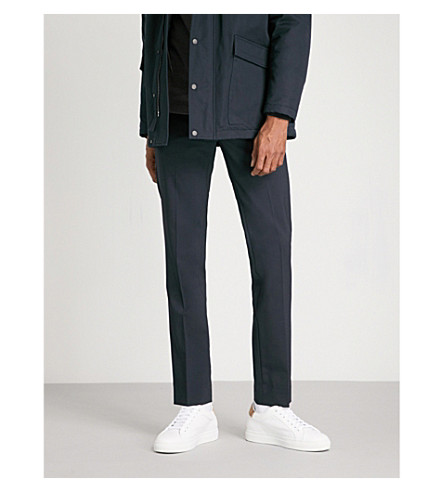 SANDRO Cropped high-rise wool-blend trousers (Marine