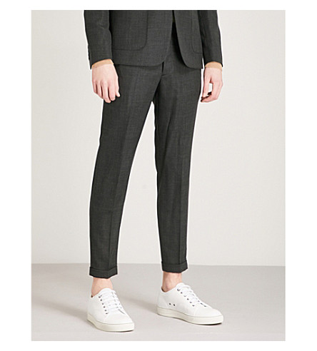 SANDRO Slim-fit tapered wool trousers (Grey