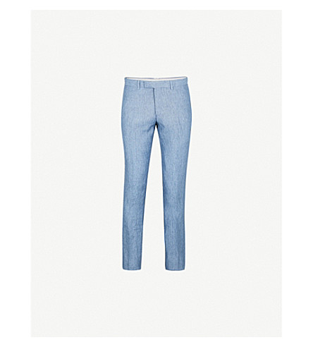 SANDRO Slim-fit tapered cotton-chambray trousers (Blue