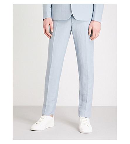 SANDRO Slim-fit tapered linen-blend trousers (Sky+blue