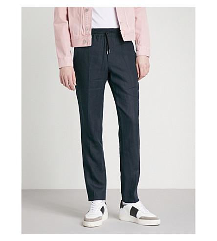 SANDRO Regular-fit tapered linen trousers (Marine