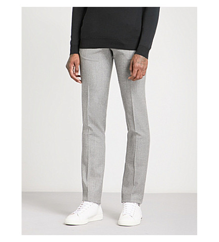 SANDRO Relaxed-fit tapered wool trousers (Light+grey